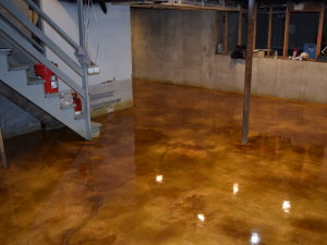 This acid-stained basement concrete floor was installed by Premier Veneers in Barrington, Illinois in 2015, using a gold tone base with brown accenting and highlighting.  The floor won acclaim in the decorative concrete trade as reflective of the best acid stain has to offer.