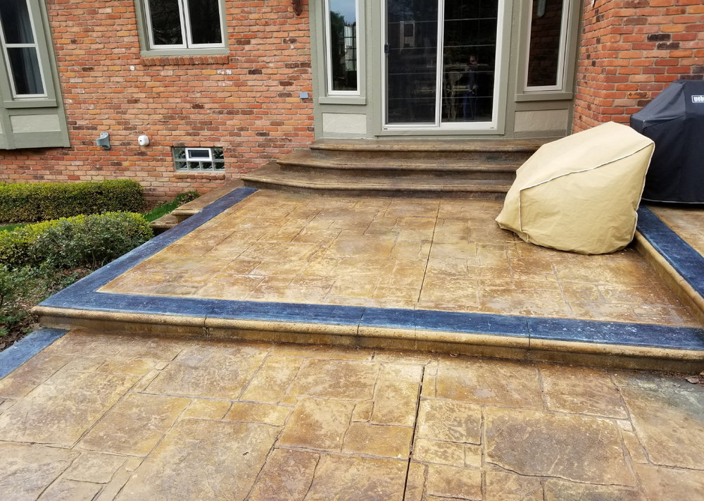 Acid-Stained Brickform Cem-Coat Overlay of Backyard Concrete Patio