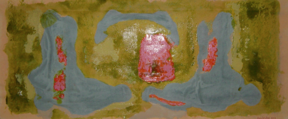 "A Lily Splash | 17""h x 40""w | Acrylic On Canvas | SOLD"