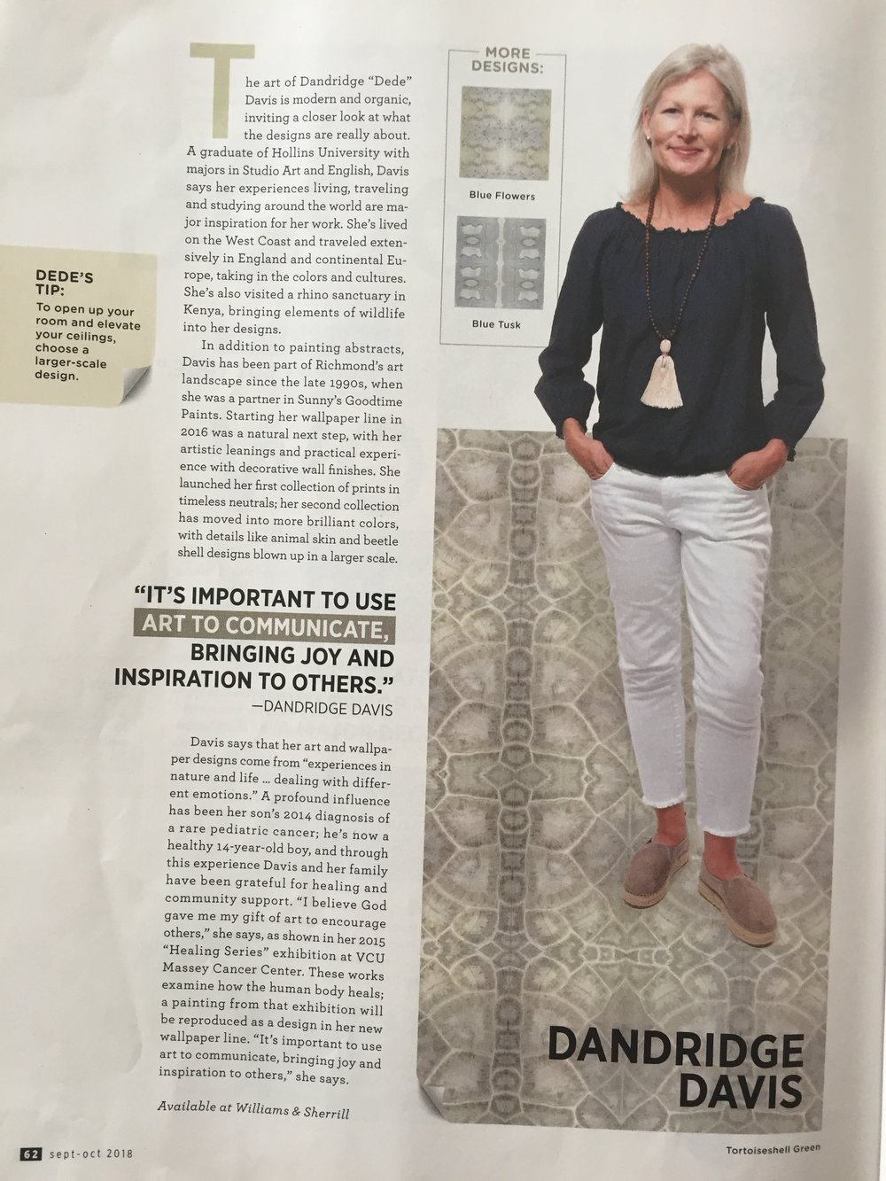 THE CREATIVES - A big THANKS to Meridith Ingram, Brooke Chappell, Jay Paul, and Lee Hawkins for their Sept-Oct 2018 RHome issue #rhomemag The Creatives!!! And thanks to Williams & Sherrill Interiors for carrying my wallpaper line!! A shout out to Leah Muhlenfeld for her support! All of you have been a pleasure to work with!I'm loving the process of Painting and Creating Wallpaper. It makes me happy to get it into homes to inspire the creativity that lives inside each of you! God calls us to use our gift ... go ahead!!!