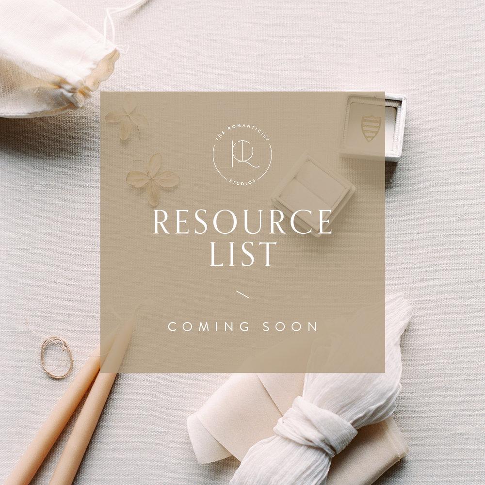 Resource List - Shop Romanticist