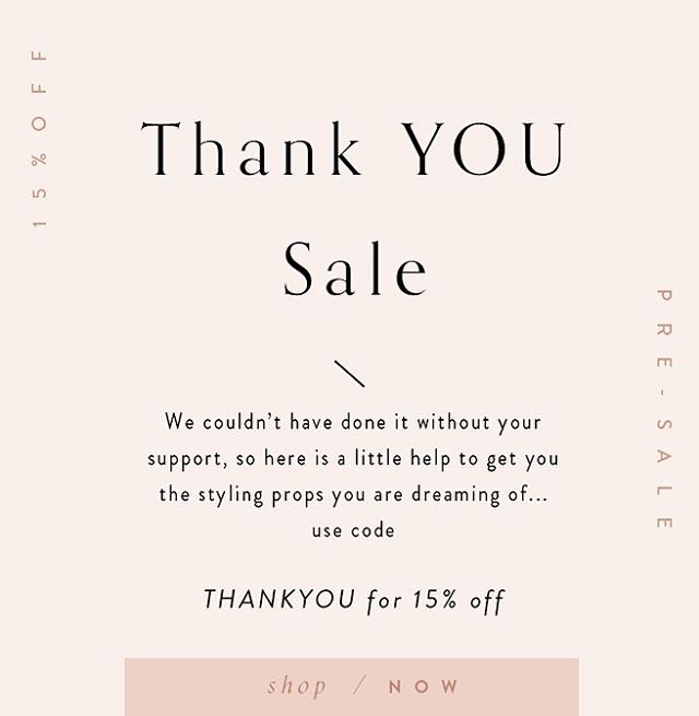 "HAVE YOU HEARD? 😱😍 We're having a Thank You Sale!! We'll never be able to repay you all for the love and support and kindness you've shown since we opened up shop, but we're sure gonna try!  Use code ""THANKYOU"" at checkout for 15% off your order now through November 22. Happy shopping 💖"