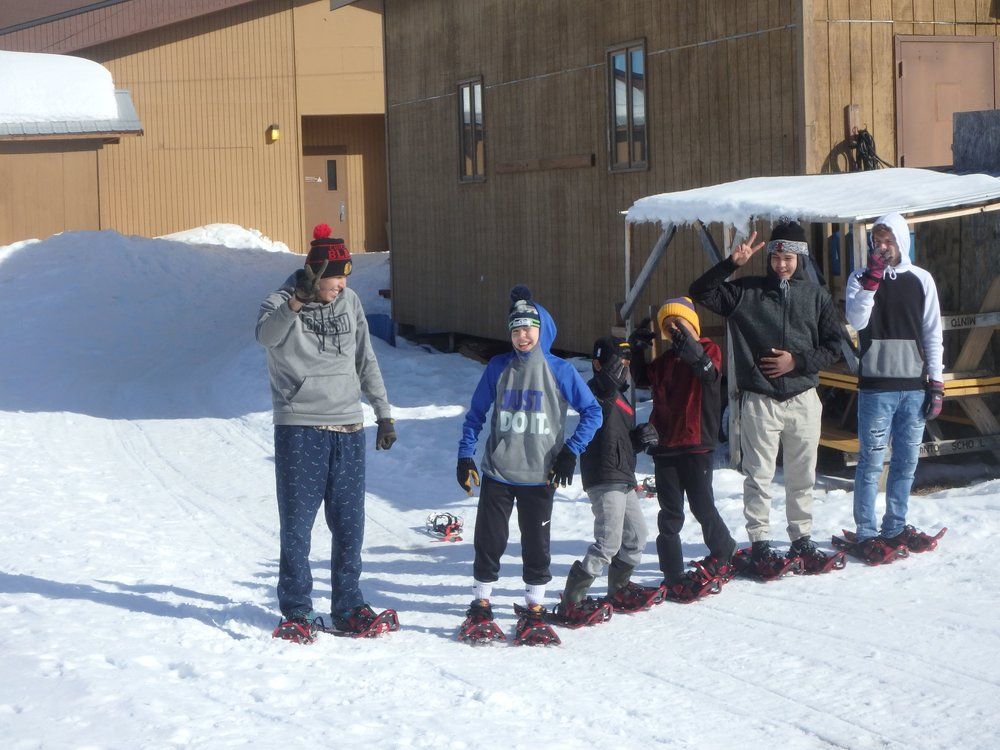 Minto School students ready to mark trail with their snowshoes.