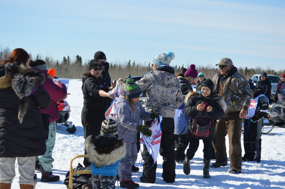 Huslia Jr. Carnival - Young musher getting ready.
