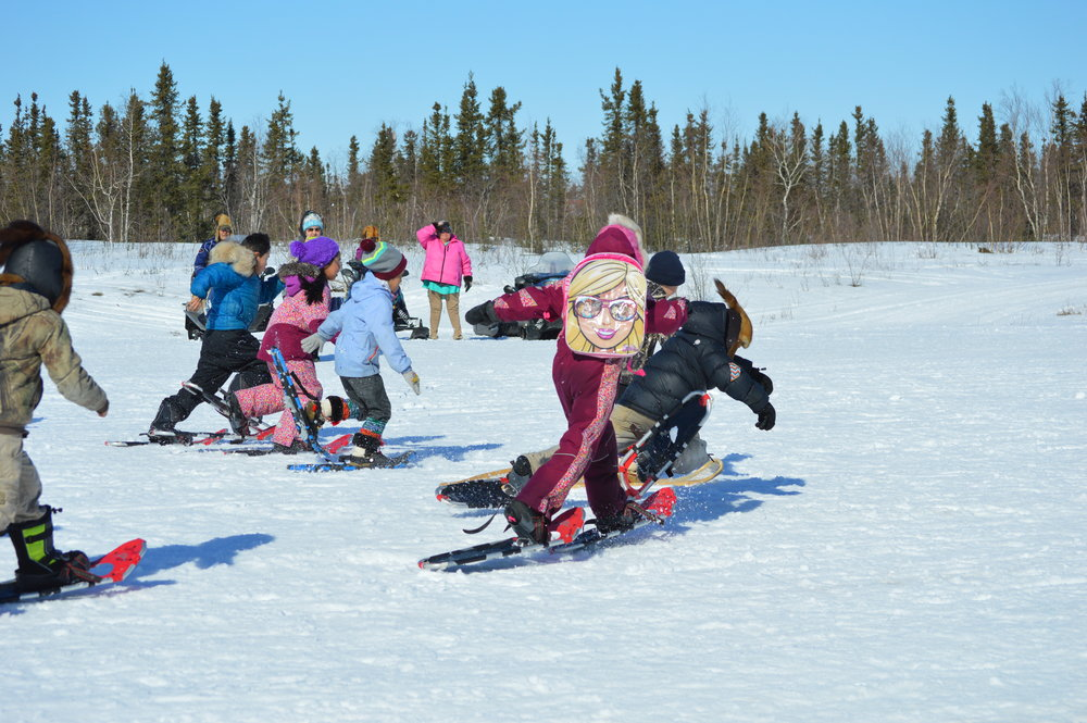 Huslia Jr. Carnival - Youth snowshoe competition.