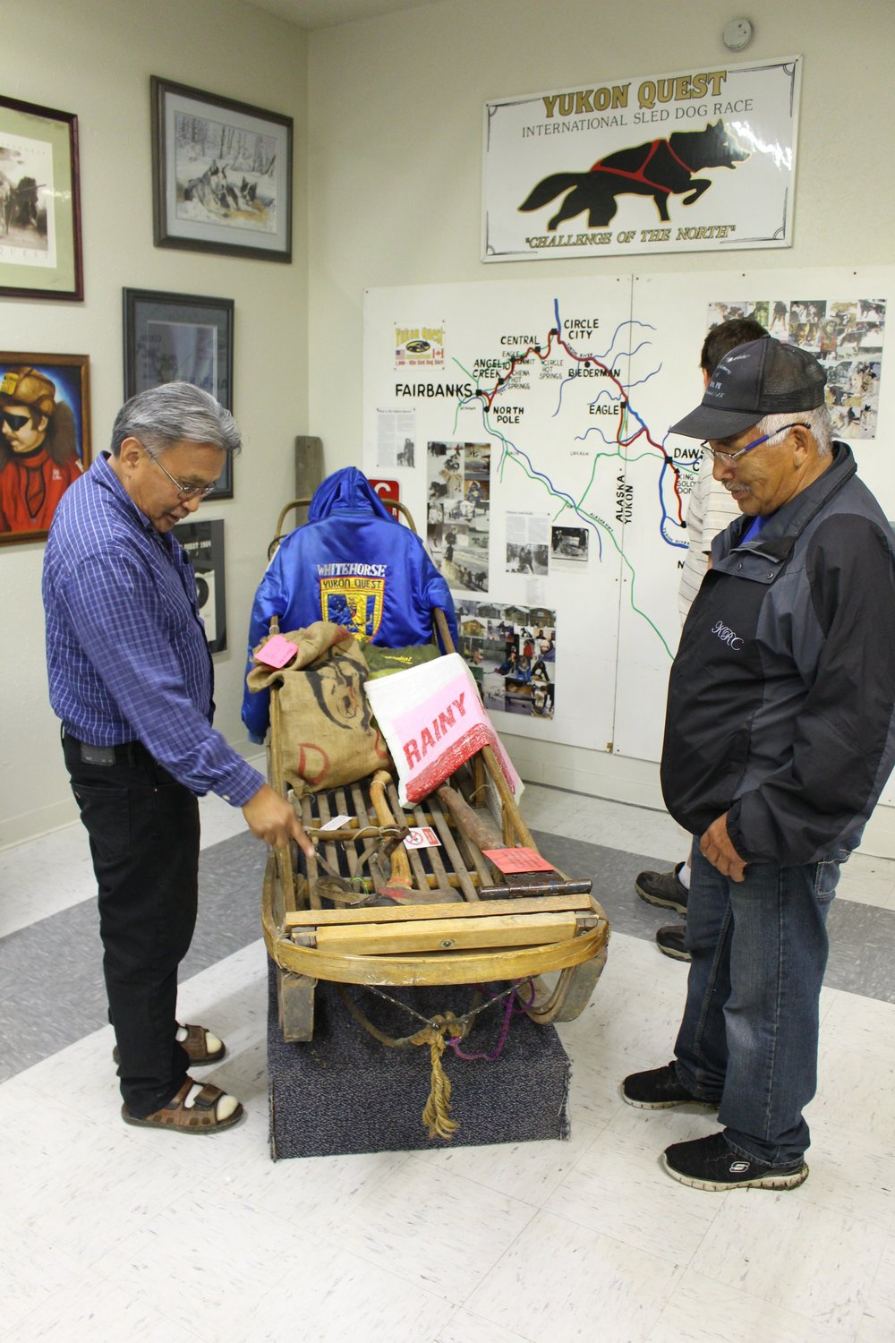 Dog Musher Teachers check out dog sled during field trip to the Fairbanks Community Museum.