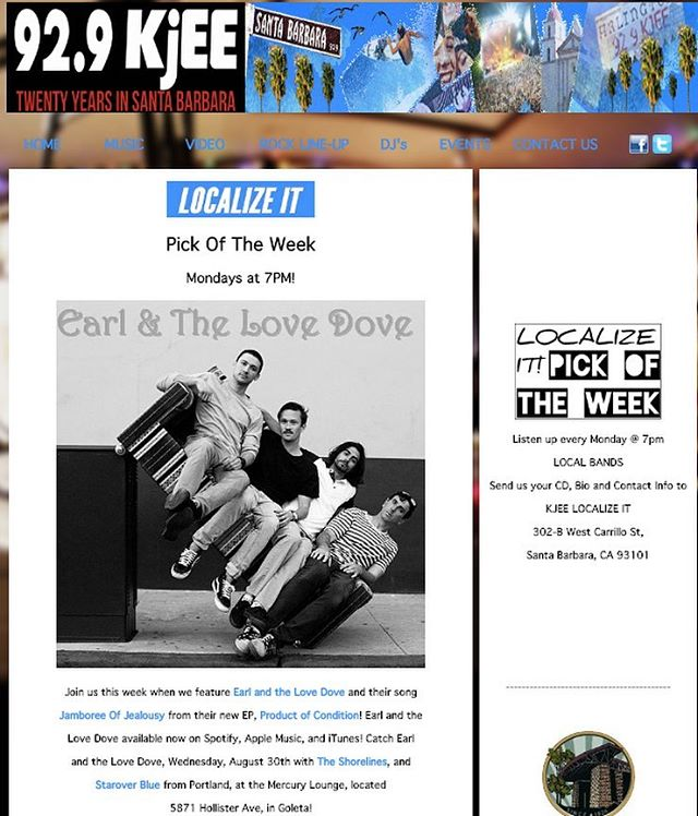 "Thanks to @929kjee for picking our song ""Jamboree of Jealousy"" as the Localize it pick of the week. Tune into 92.9 at 7pm tonight to hear us on the radio for the first time 🌵🌴🤘🏼"