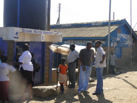 Kosovo Water Kiosk constructed between the Mathare Kosovo Community and the Nairobi Water and Sewerage Company