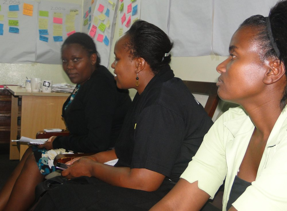 The writer (right) during a youth mentorship session organised by Muungano wa Wanavijiji