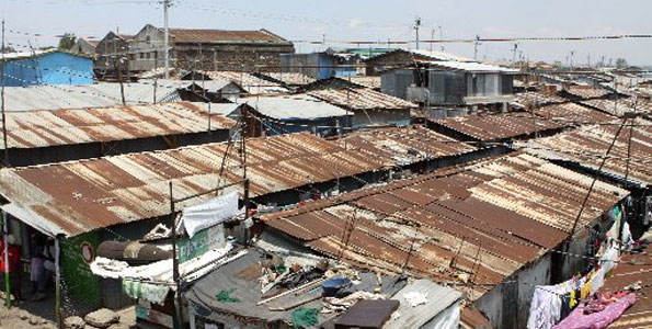 A section of Mukuru kwa Reuben slum in Nairobi.