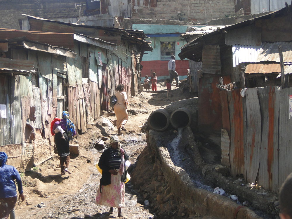 An open sewer in Mathare Valley
