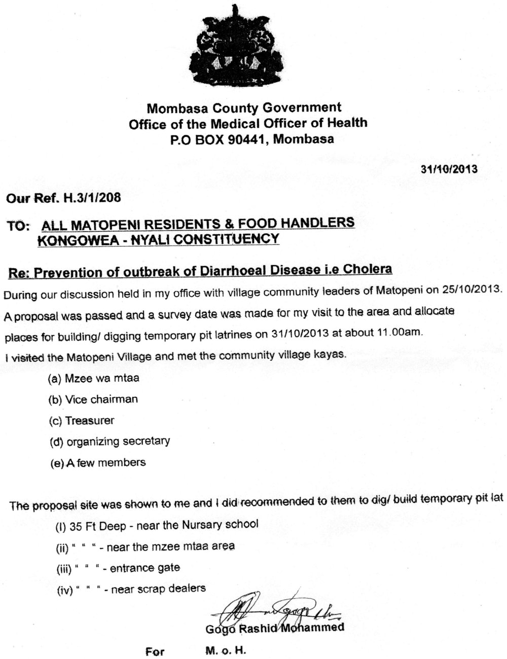 A copy of the letter from the County health authority