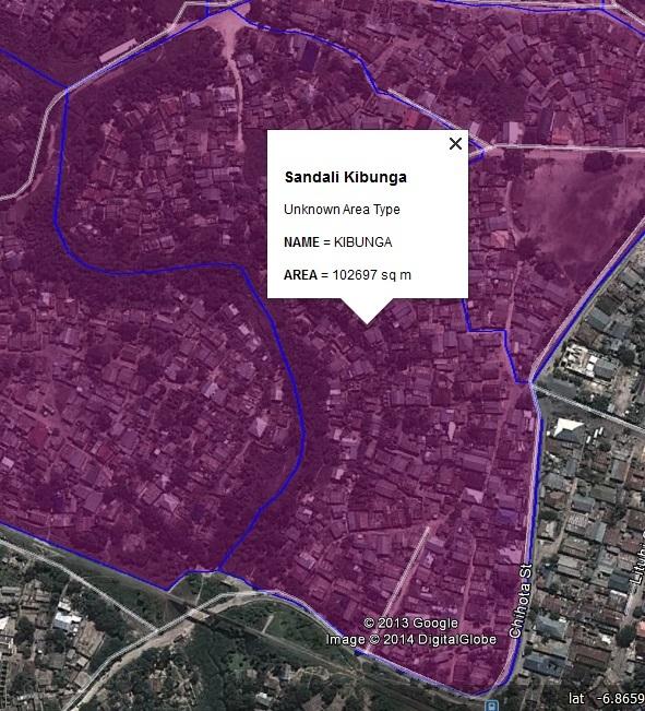 Figure 13: The settlement boundaries for Kibunga settlement in Sandali ward