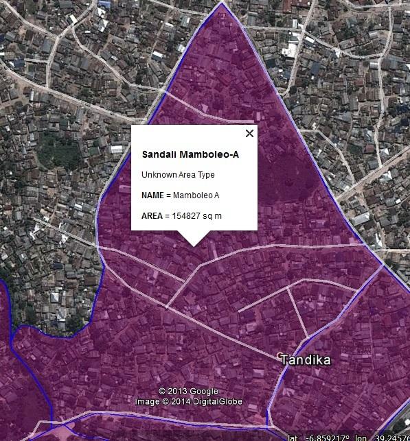 Figure 15: The settlement boundary map for Mamboleo A settlement in Sandali ward