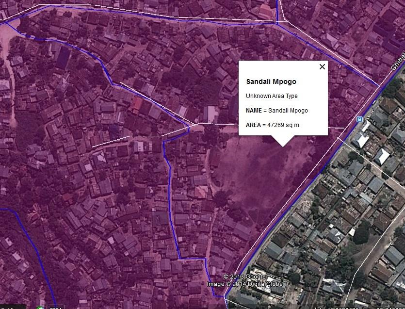 Figure 17: The settlement boundary map for Mpogo settlement in Sandali ward