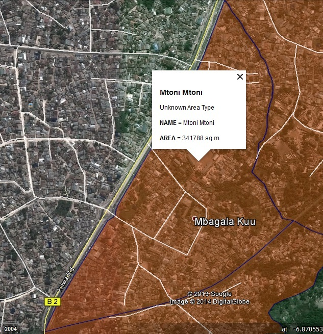 Figure 18: The settlement boundary map for Mtoni settlement in Mtoni ward