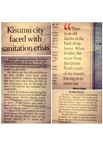 A news clipping on the state of sanitation in Kisumu
