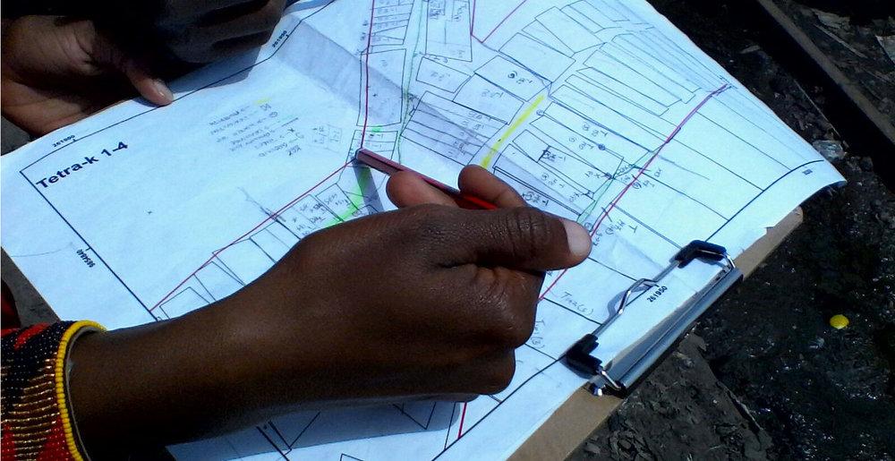 Early paper version of a map of Viwandani informal settlement, Nairobi. Photo: Grace Githiri.