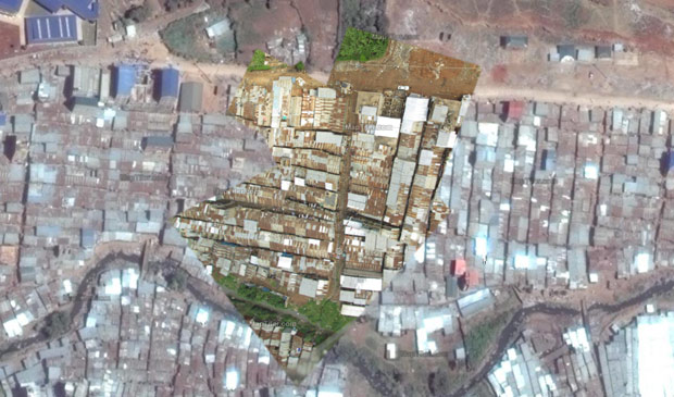 Georeferencing aerial images allow them to be combined with other maps. Here are aerial images from Mathare shown on a Google Map.