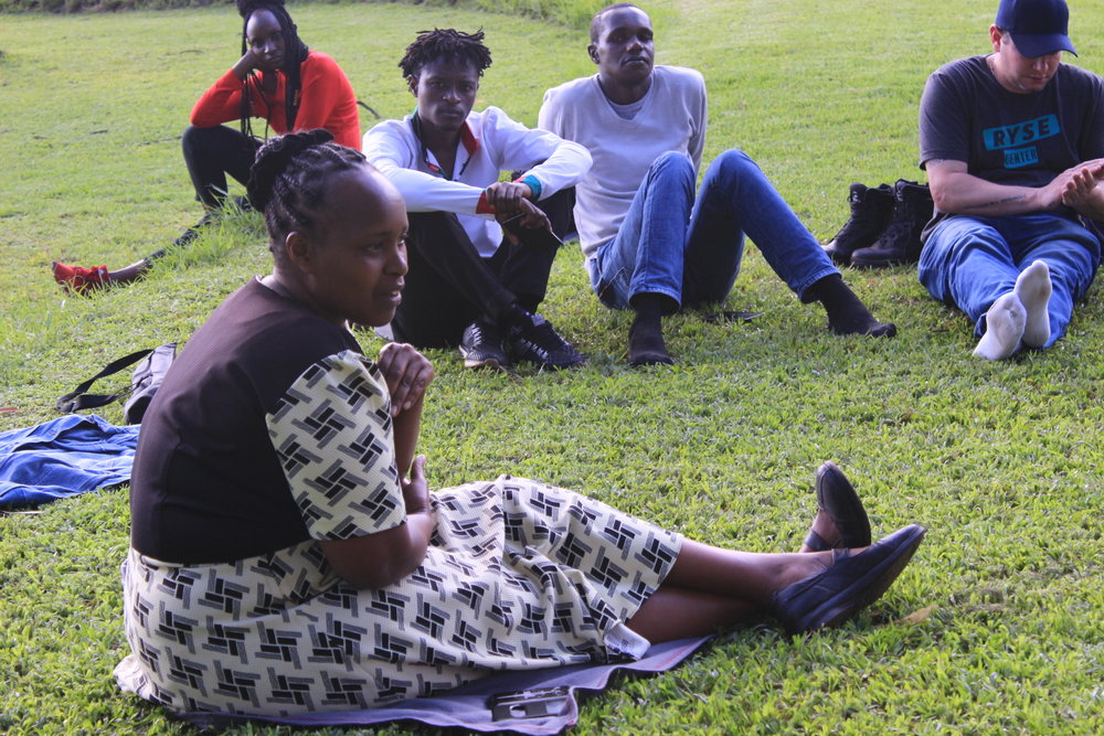 Nancy Njoki, Muungano leader from Mathare,shares her experience with savings systems. Picture taken at Karura Forest, Nairobi.