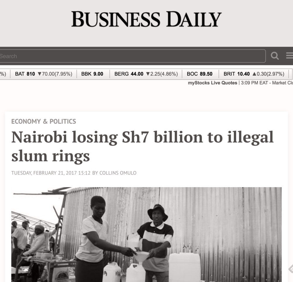 The research findings on Mukuru's informal economy received much press coverage