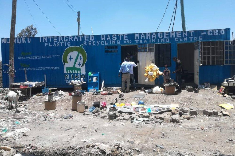 A plastics recycling centre in Mukuru, an informal settlement in Nairobi. Photo: SDI Kenya