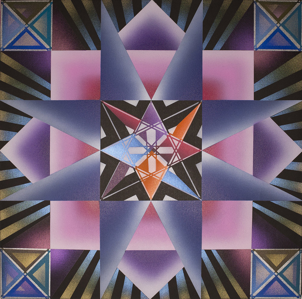 Inanna Star Square, Acrylic Airbrush on Canvas, 30 x 30 inches, 2018.jpg