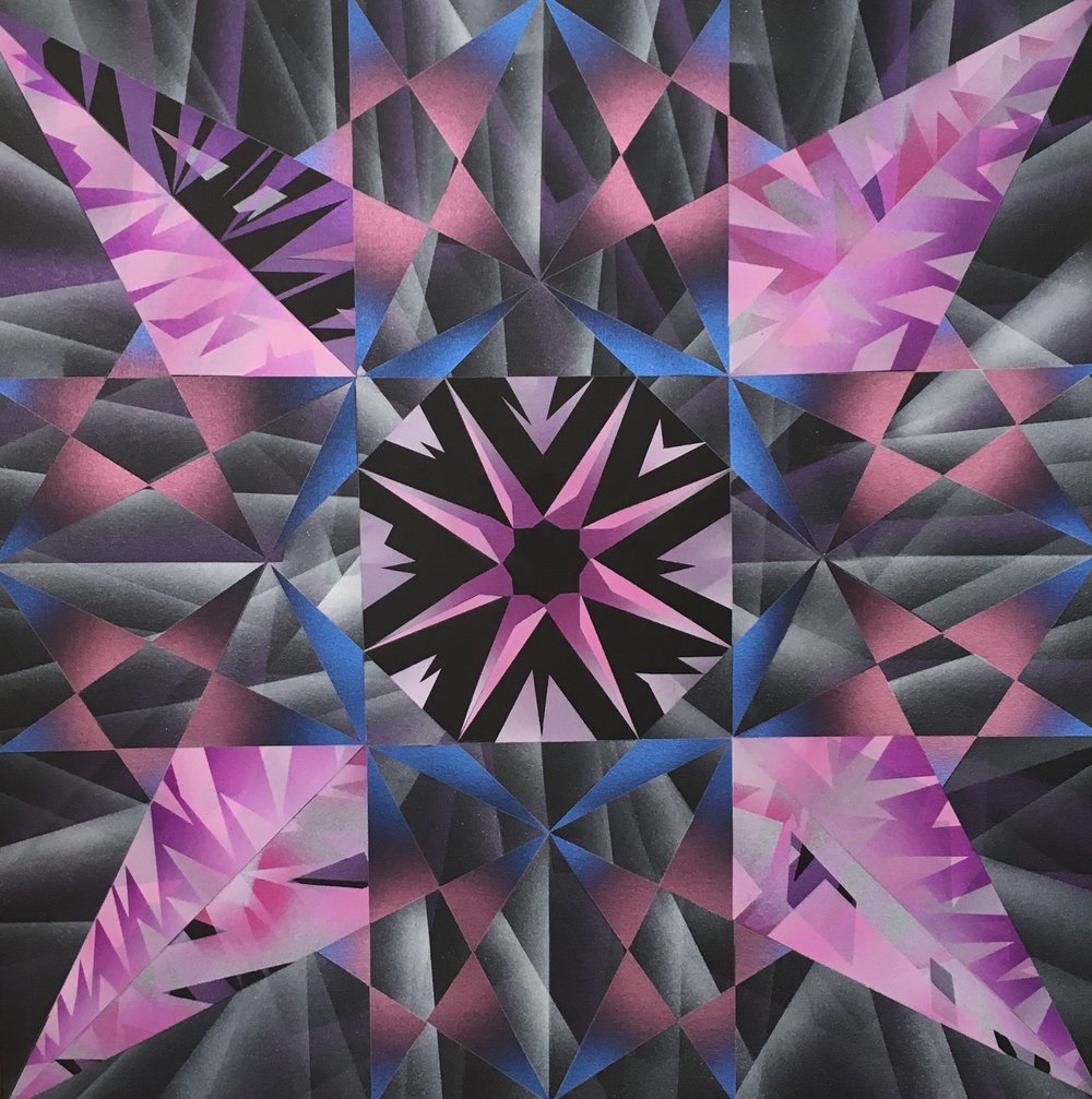 Eight Point Polyphony, 30 x 30 inches, Acrylic Airbrush on Canvas, 2018 .jpg