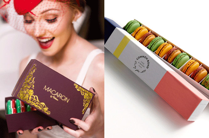 2014 Holiday Gift Guide, Woman Holding Macaron Box and Common Bond Macaron Box