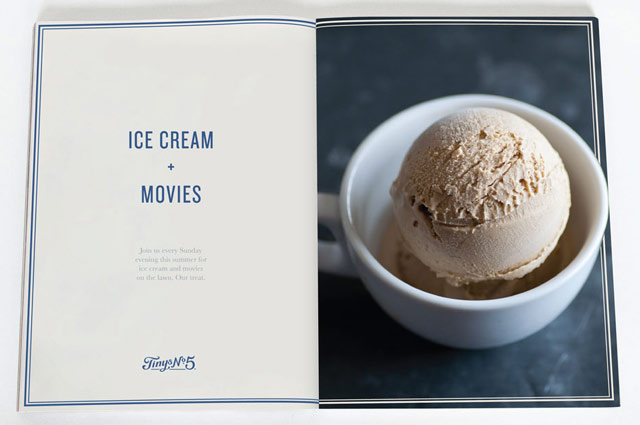 "Tiny's No. 5 magazine ad, ""Ice Cream + Movies"""