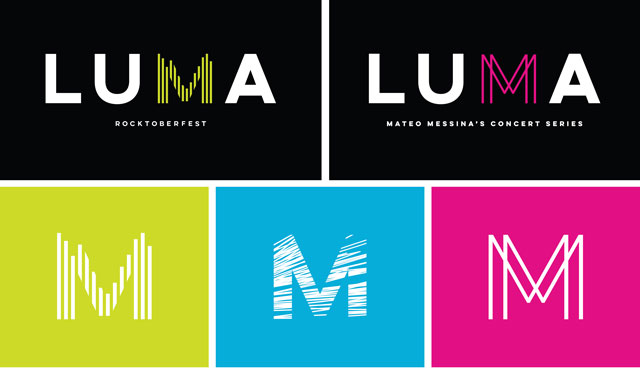 LUMA Benefit Concert Logos for Rocktoberfest, Mateo Messina's Concert Series and EBU's for all three