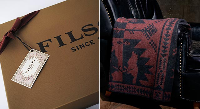 Filson Box, Ribbon and Tag and Running Wolf Blanket