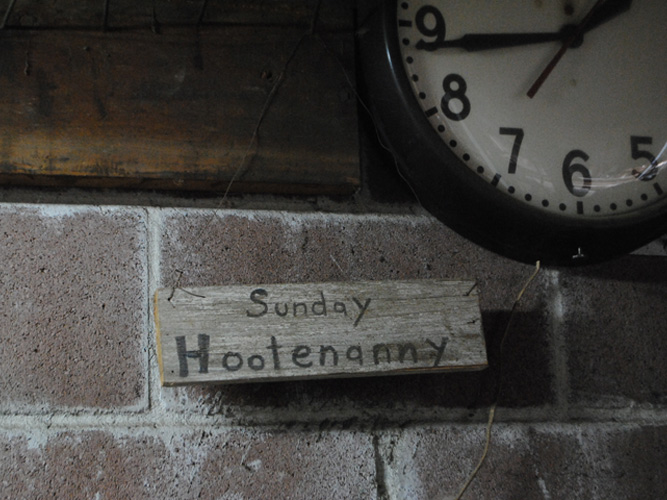 "Brackish Designs Studio Sign, ""Sunday Hootenanny"""