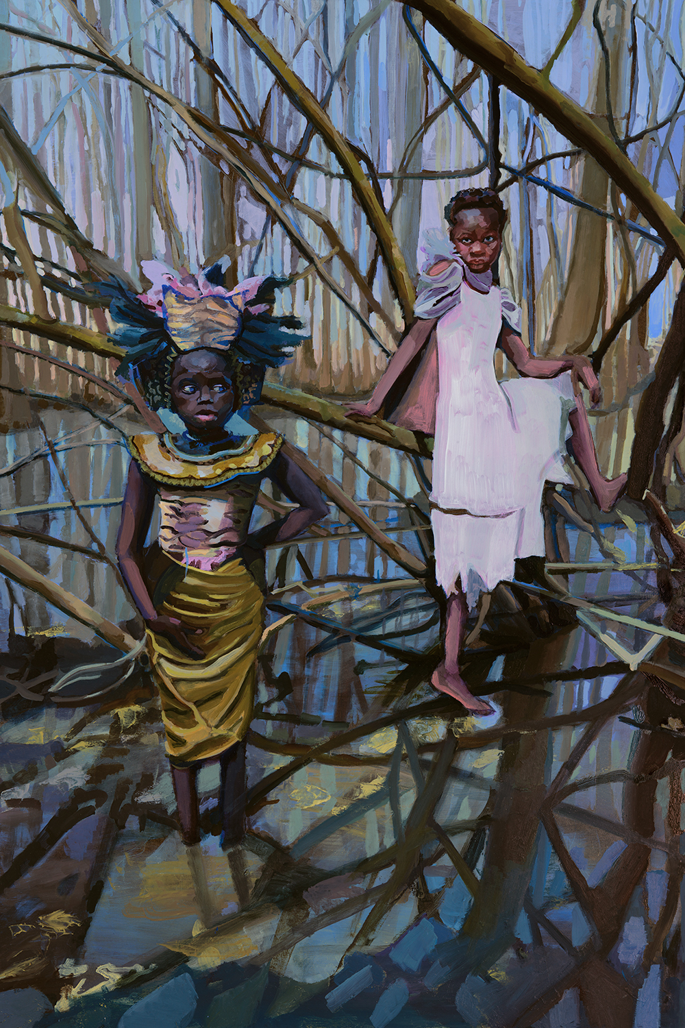 "LADY OF THE LAKE & SIBYL, 2018, AVAILABLE.   24""x36,"" oil on wood.  I had my daughters model for this painting inspired by a blending of our combined imaginations and the legends associated with King Arthur.  Click to see in my  Shop ."