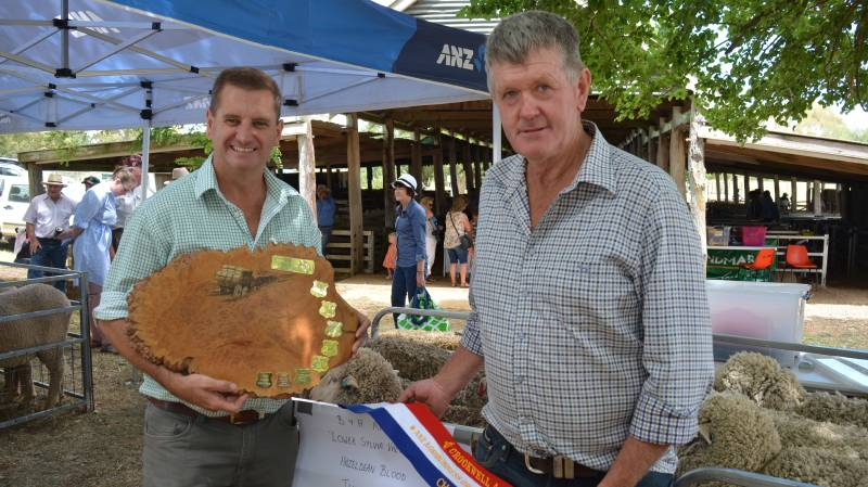 "Rick Power, Landmark stud stock, Grenfell, and classer at ""Lower Sylvia Vale"", Binda, with Brian Anderson, ""Lower Sylvia Vale"", the ANZ Agribusinss Crookwell Flock Ewe champions for 2017."