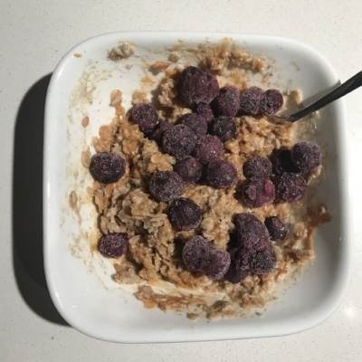 Added some blueberries to my oatmeal in the morning.