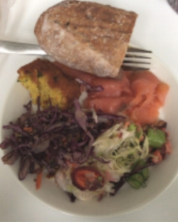 A pre-race meal with good source of vitamin D in the smoked salmon.