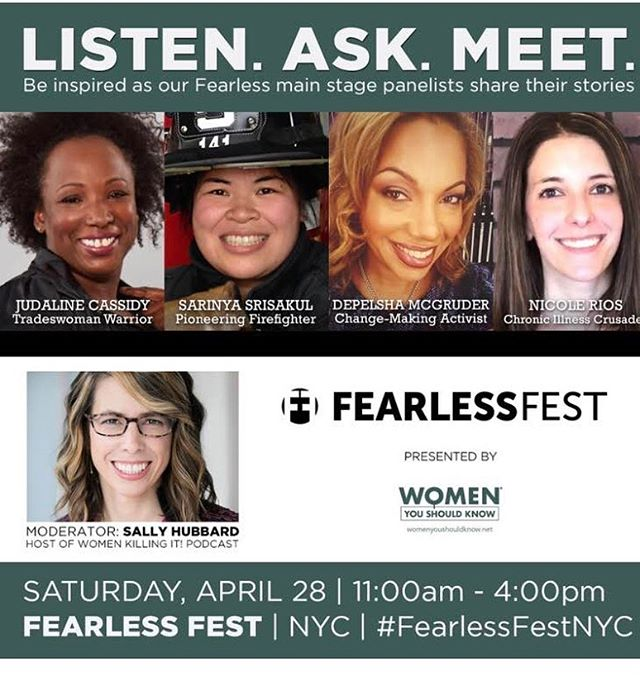 Tradeswoman Judaline Cassidy (Plumber Local 1) and Firefighter Sarinya Srisakul (FDNY) will make for a dynamic fire and water duo on this panel alongside Depelsha McGruder and Nicole Rios! Plus, spend a few hours feeling EMPOWERED and UPLIFTED at #fearlessfestnyc Sat Apr 28!