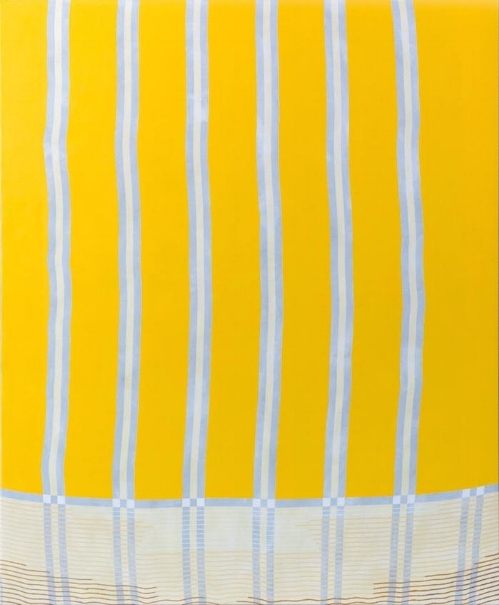 Pinstripe, acrylic on patterned fabric, 36x30, 2016