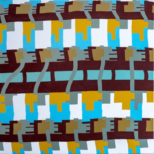 Eric's Legos, acrylic on patterned fabric, 30x30, 2016