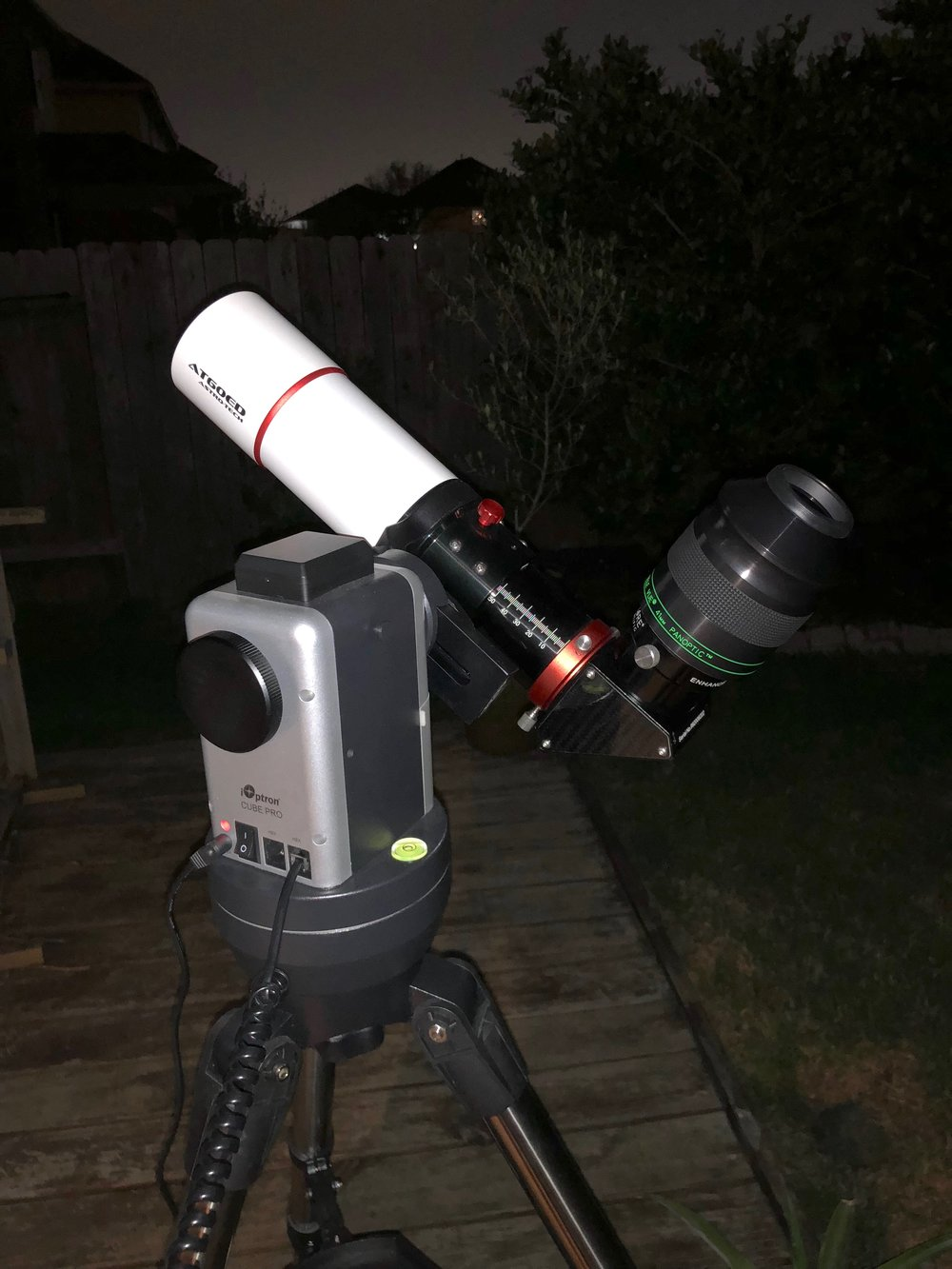 "The Astro-Tech AT60ED, with iOptron Cube Pro Alt-Az GoTo mount, Explore Scientific 2"" diagonal, and the TeleVue Panoptic 41mm eye piece."