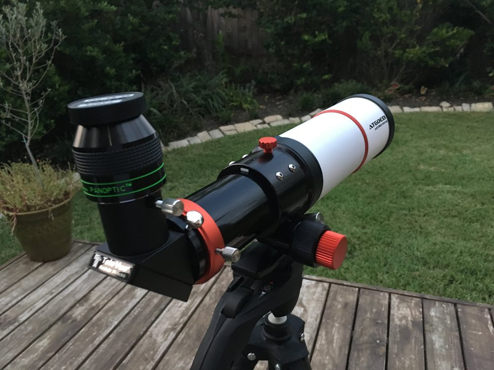 The AT60ED shown with a TeleVue Panoptic 24mm eye piece, a TeleVue Everbright 1.25 diagonal, and a Manfroto camera tripod with pistol grip for easy aiming.