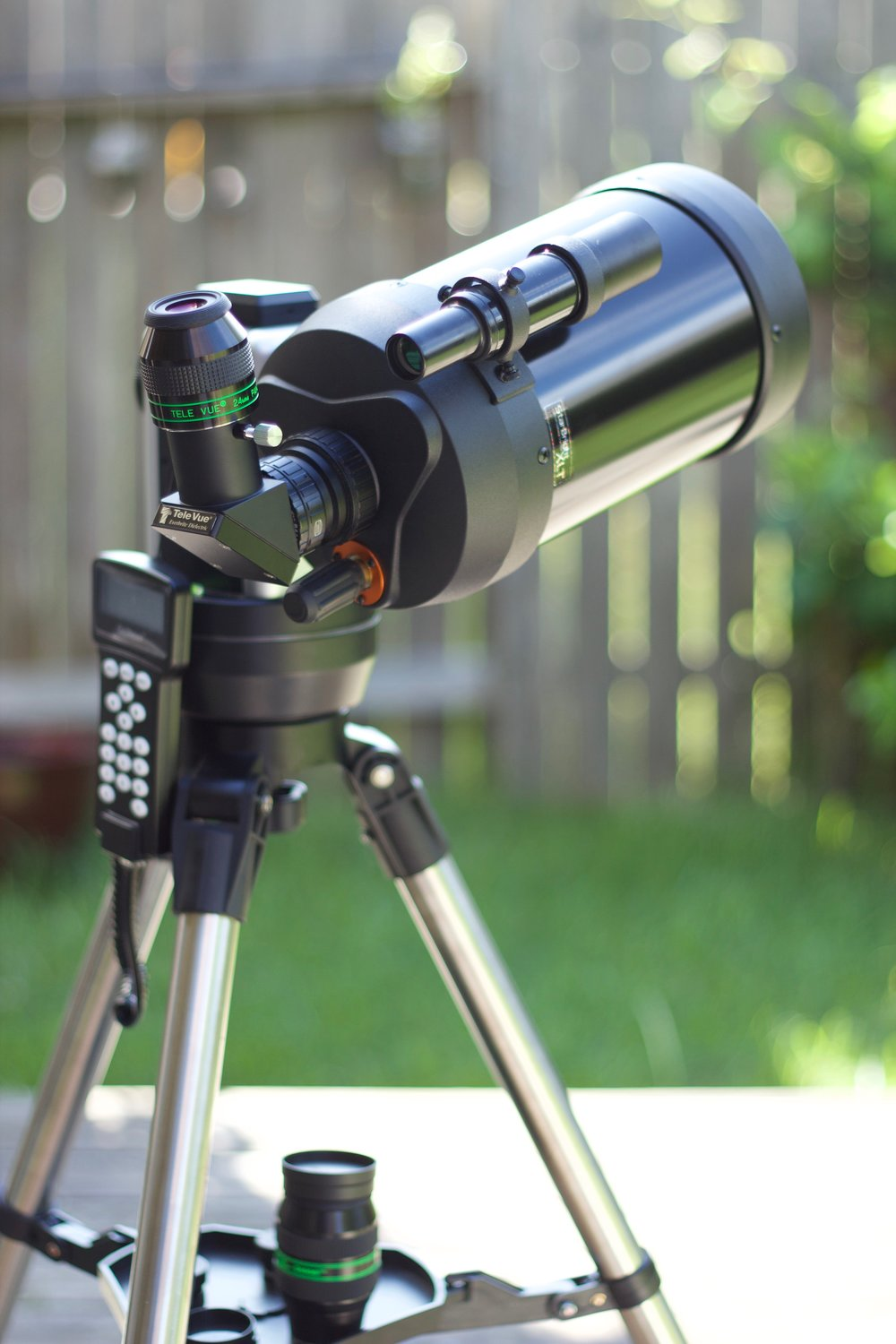 The Celestron C5 Spotting Scope, with iOptron Cube Pro Alt-Az GoTo mount, TeleVue Everbright diagonal, and the TeleVue Panoptic 24mm eye piece.