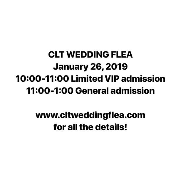 We are SO EXCITED to announce our next CLT WEDDING FLEA on January 26! Tag a bride or a newlywed below and check out all the details at the link in our bio!