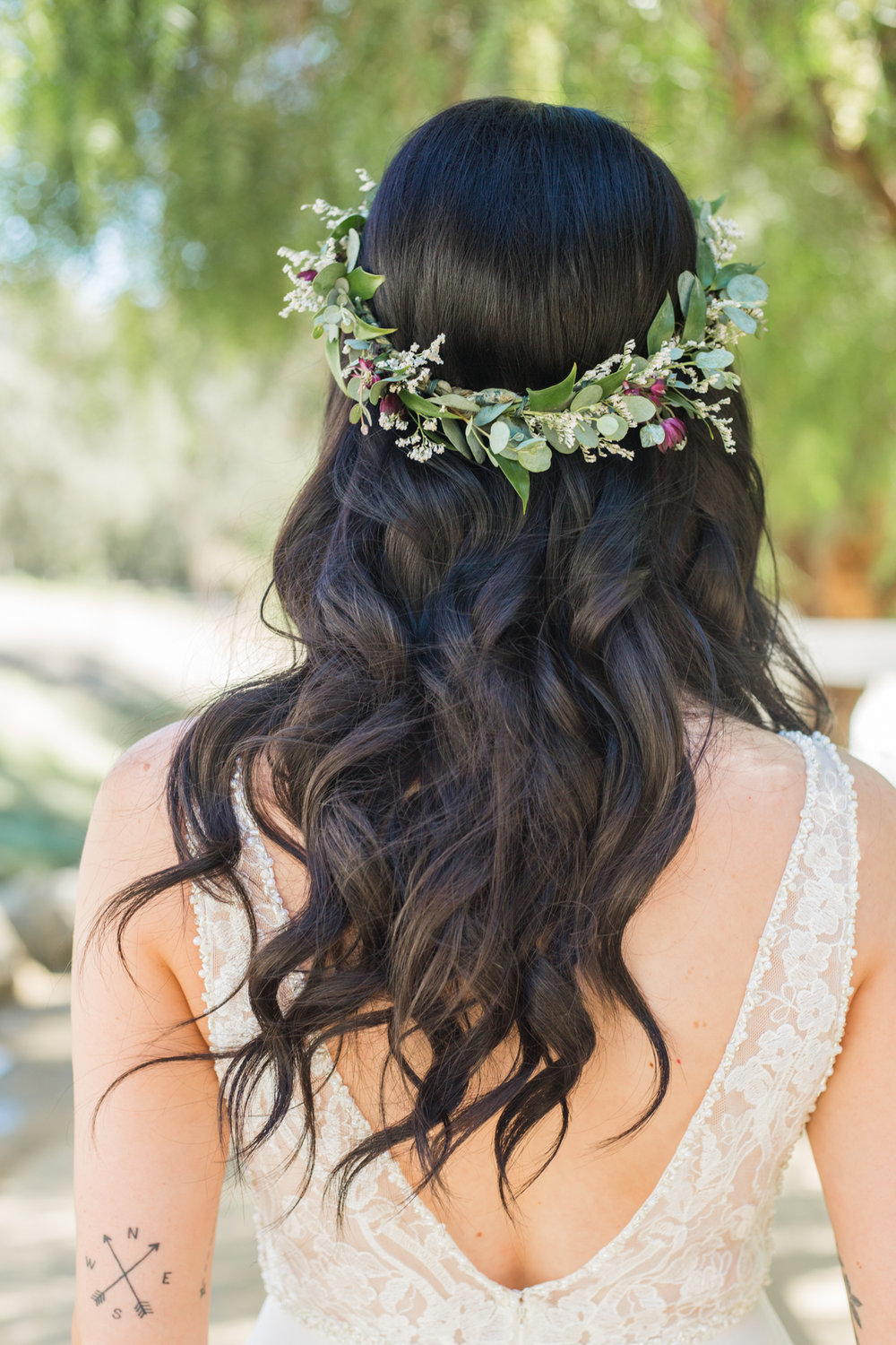 Rustic flower crown for boho bride