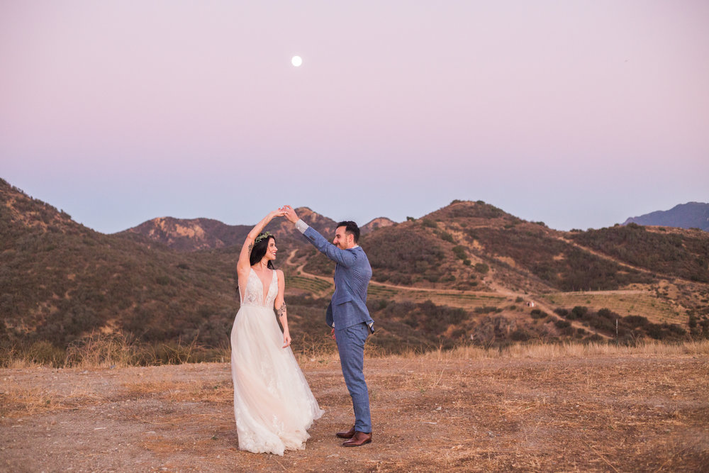 Couple dances in the mountains of California