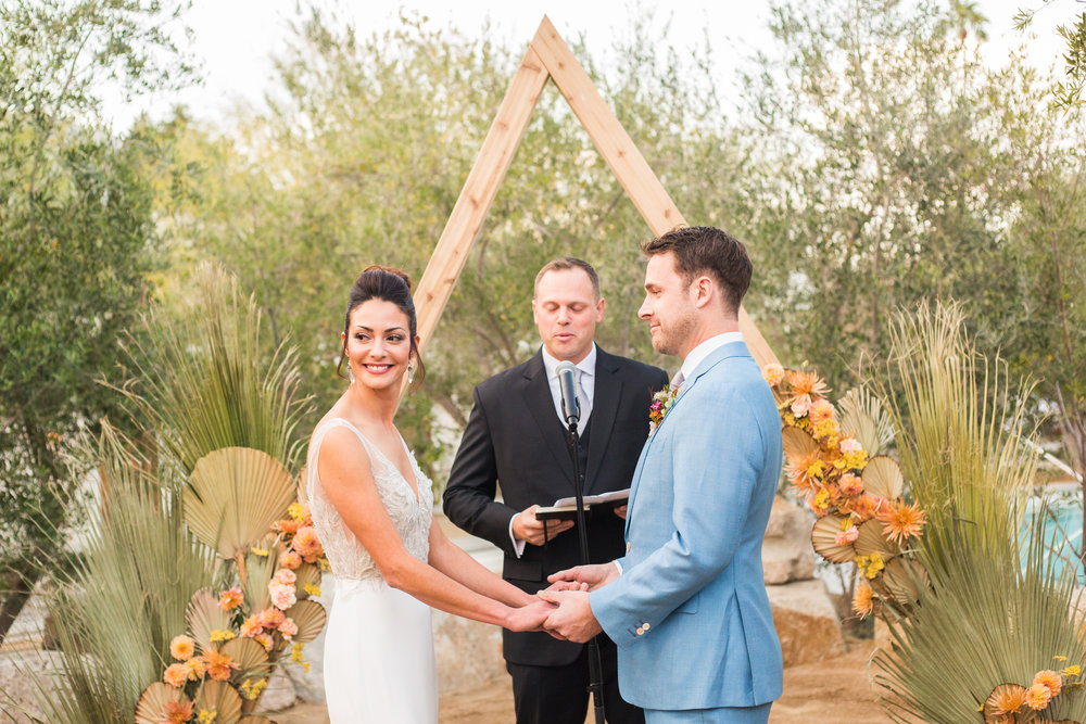 Colorful desert wedding ceremony at Ace hotel