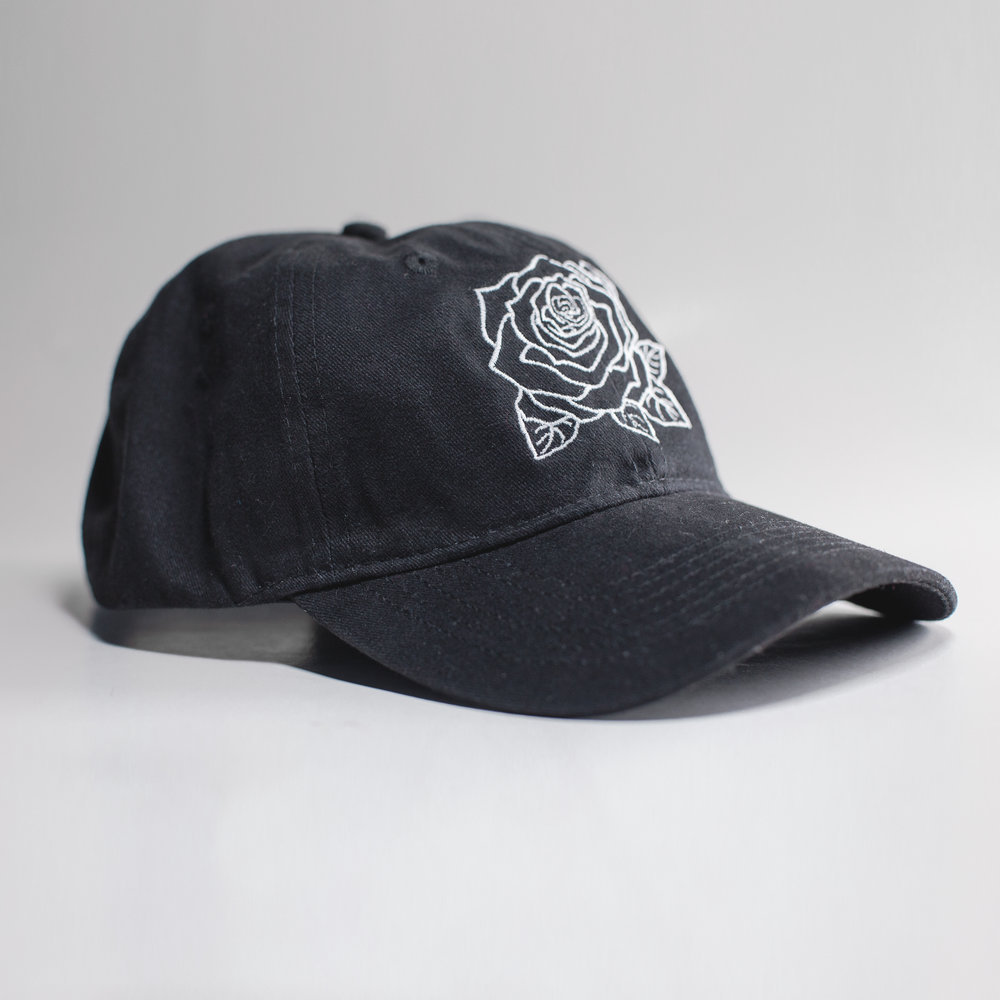 - Rose Dad Hat - Black - $25