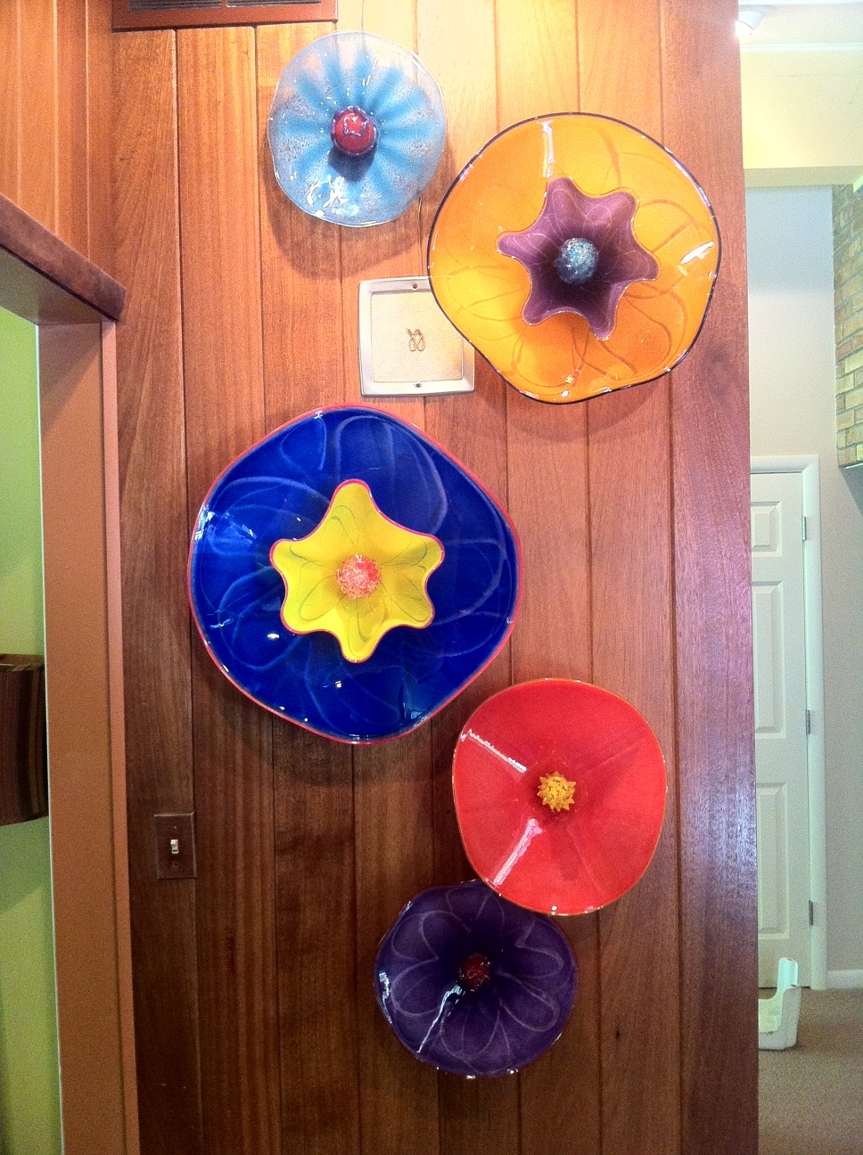 colorful glass wall art glass wall flowers