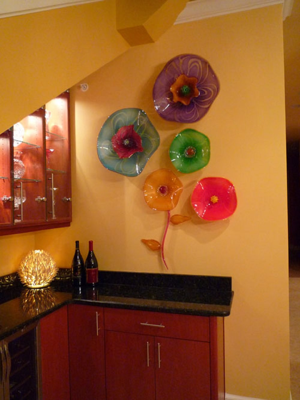 one of a kind glass wall flowers
